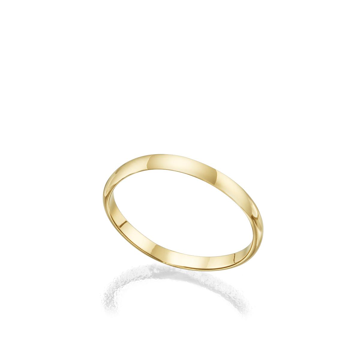 """טבעת נישואין מעוגלת רוחב 2 מ""""מ"""