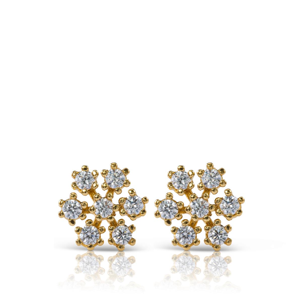 עגילי יהלומים צמודים בהשראת פתית שלג
