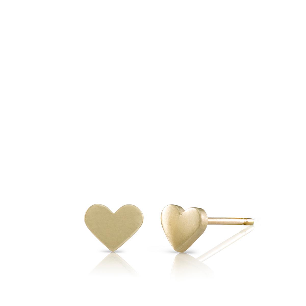 עגילי לבבות צמודים מזהב