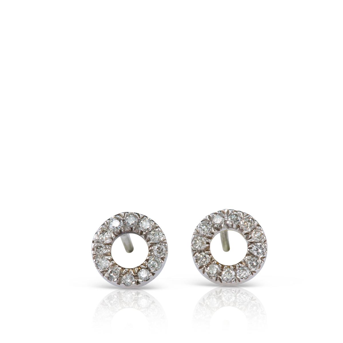 עגילי יהלומים צמודים בצורת עיגול