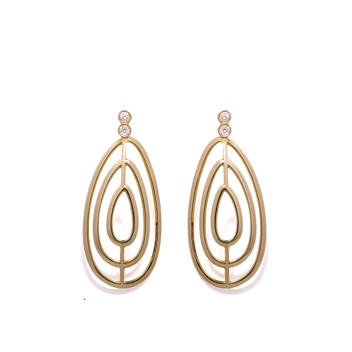 עגילי זהב צמודים גדולים משובצים יהלומים