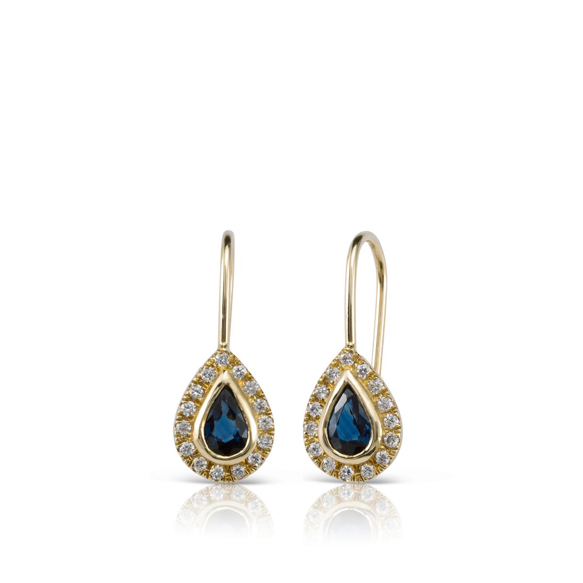 עגילי זהב תלויים משובצים ספיר כחול ויהלומים
