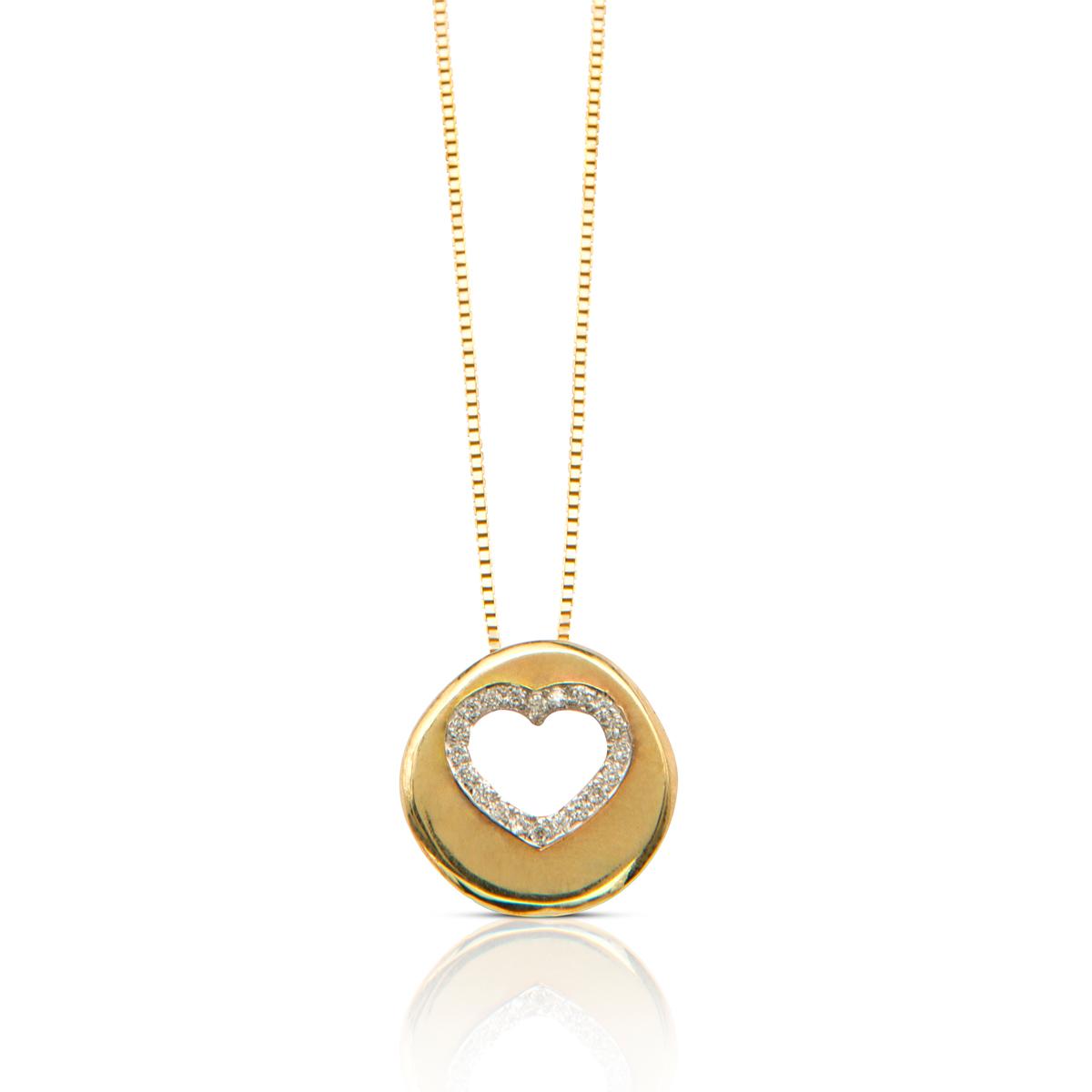 שרשרת לב זהב משובצת יהלומים