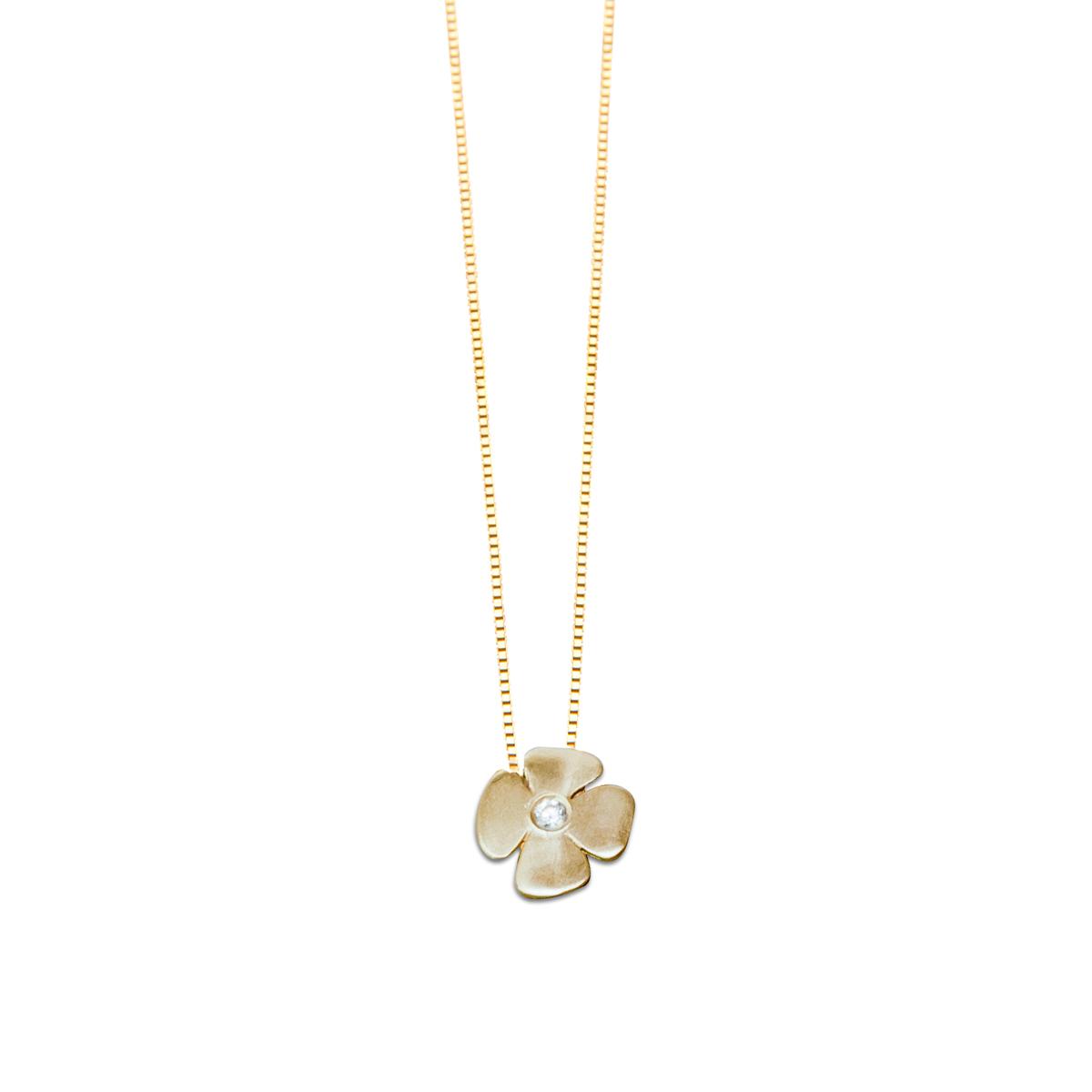 שרשרת פרח זהב משובצת יהלום
