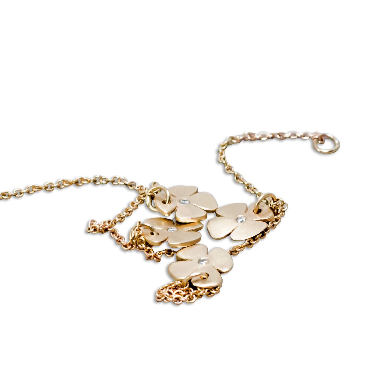 צמיד זהב פרחים ויהלומים