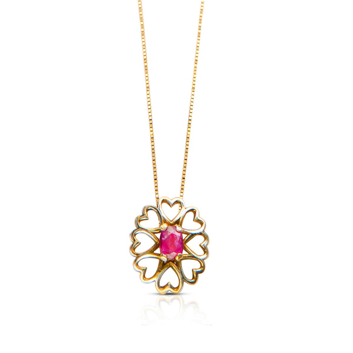 שרשרת זהב משובצת רובי בעיצוב לבבות זהב