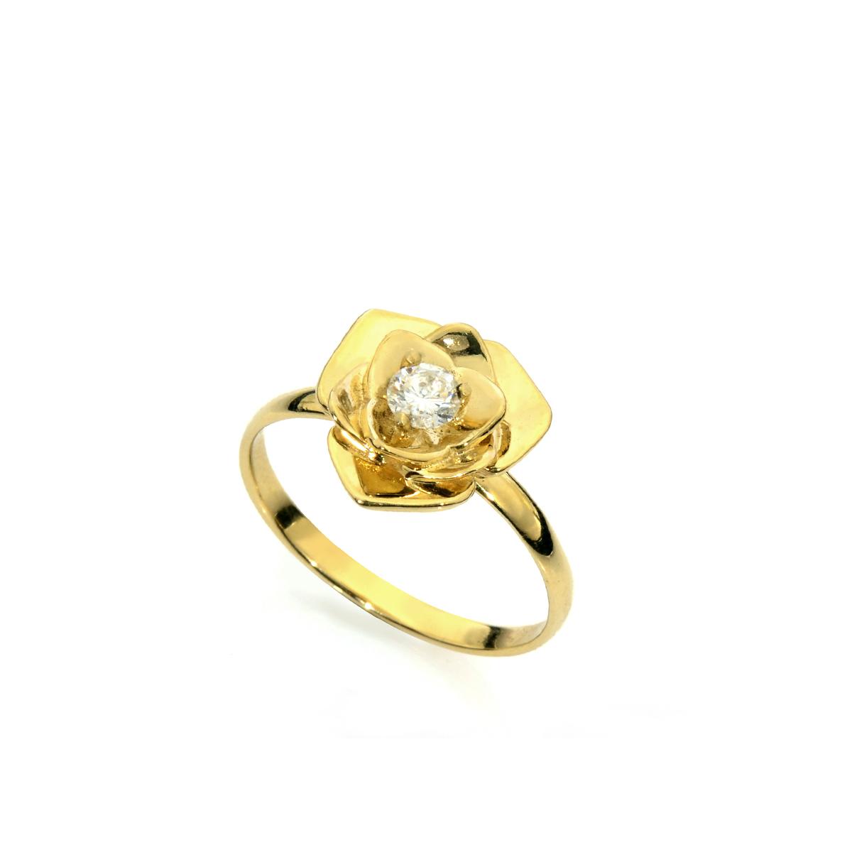 טבעת אירוסין שושנה משובצת יהלום