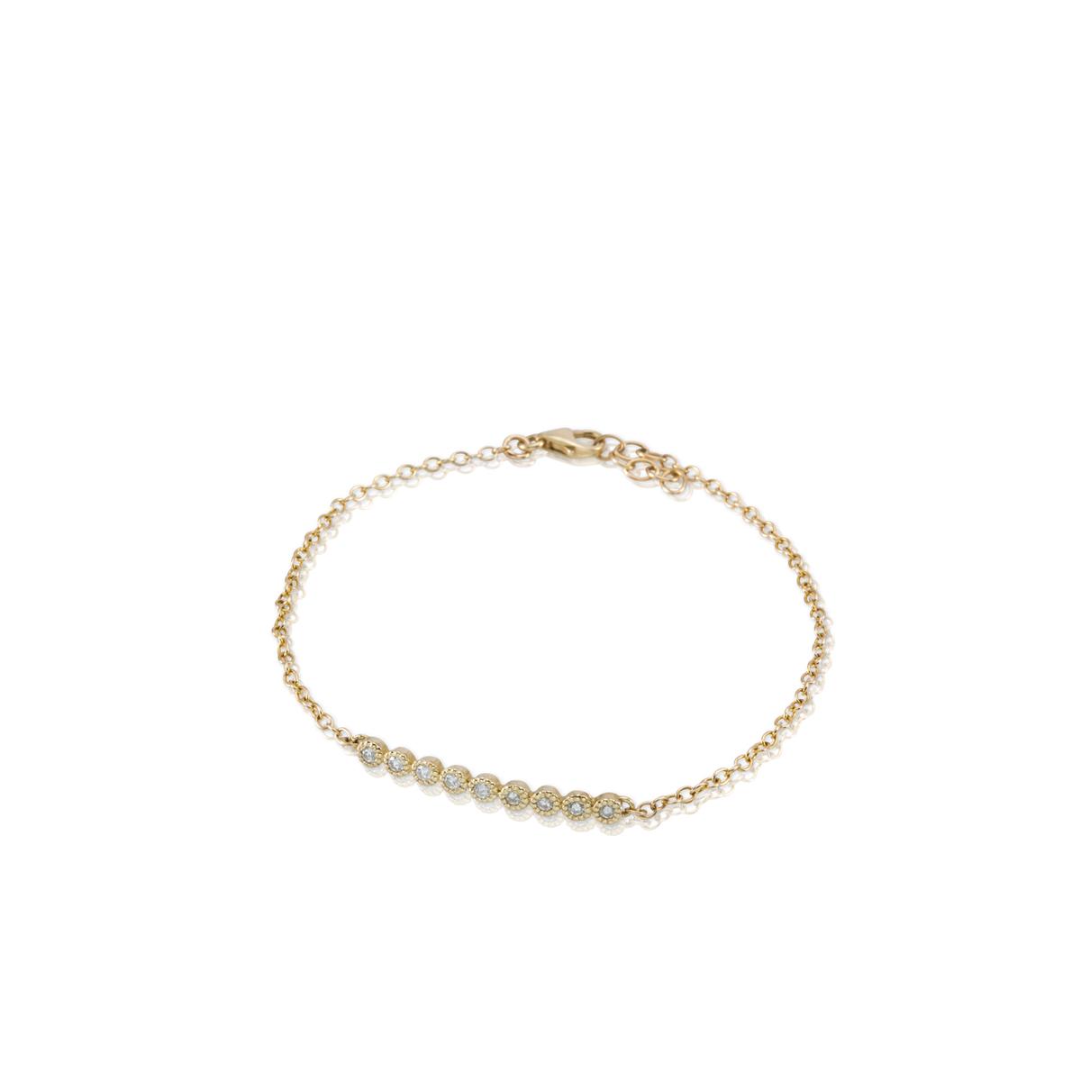 צמיד זהב משובץ 9 יהלומים