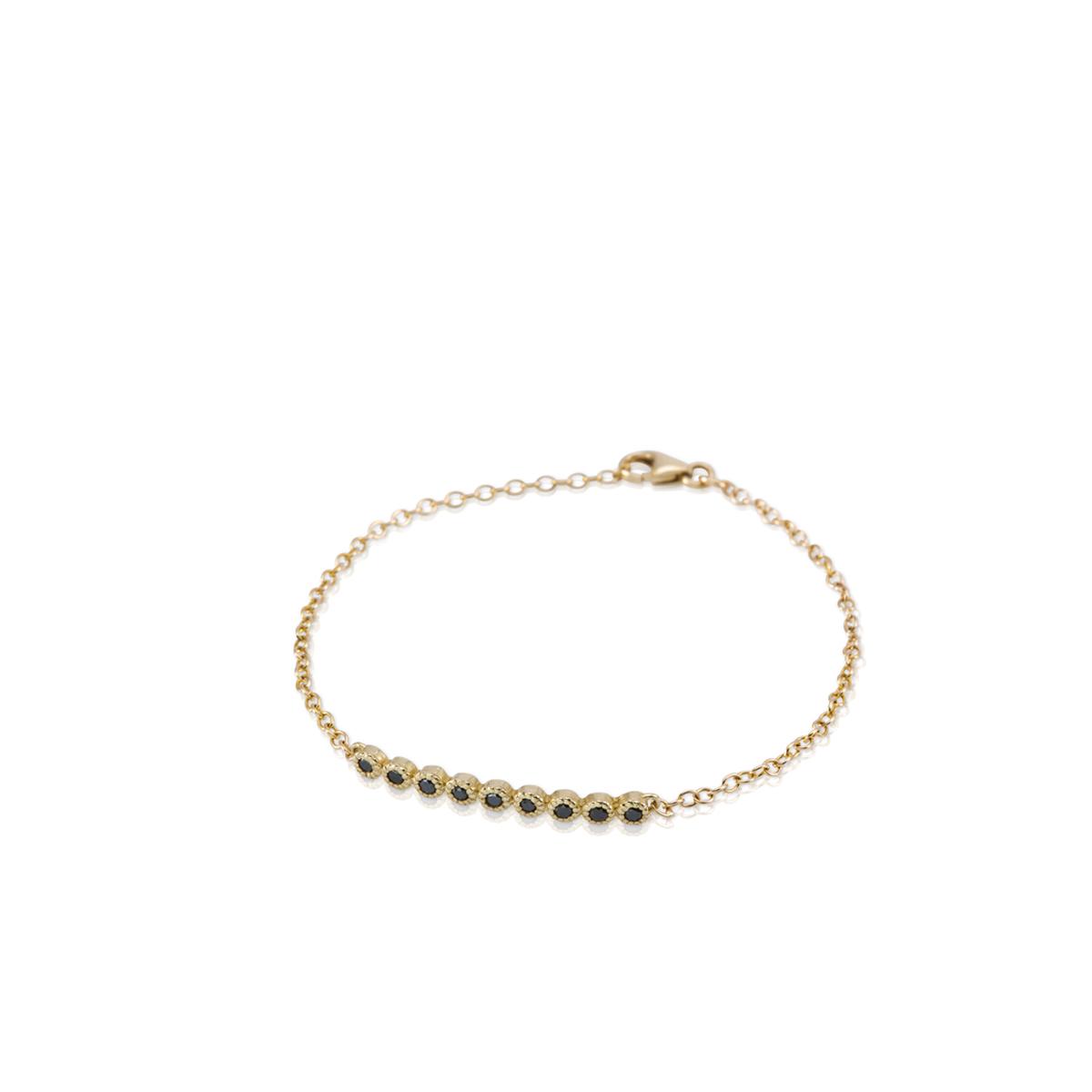 צמיד זהב משובץ 9 יהלומים שחורים