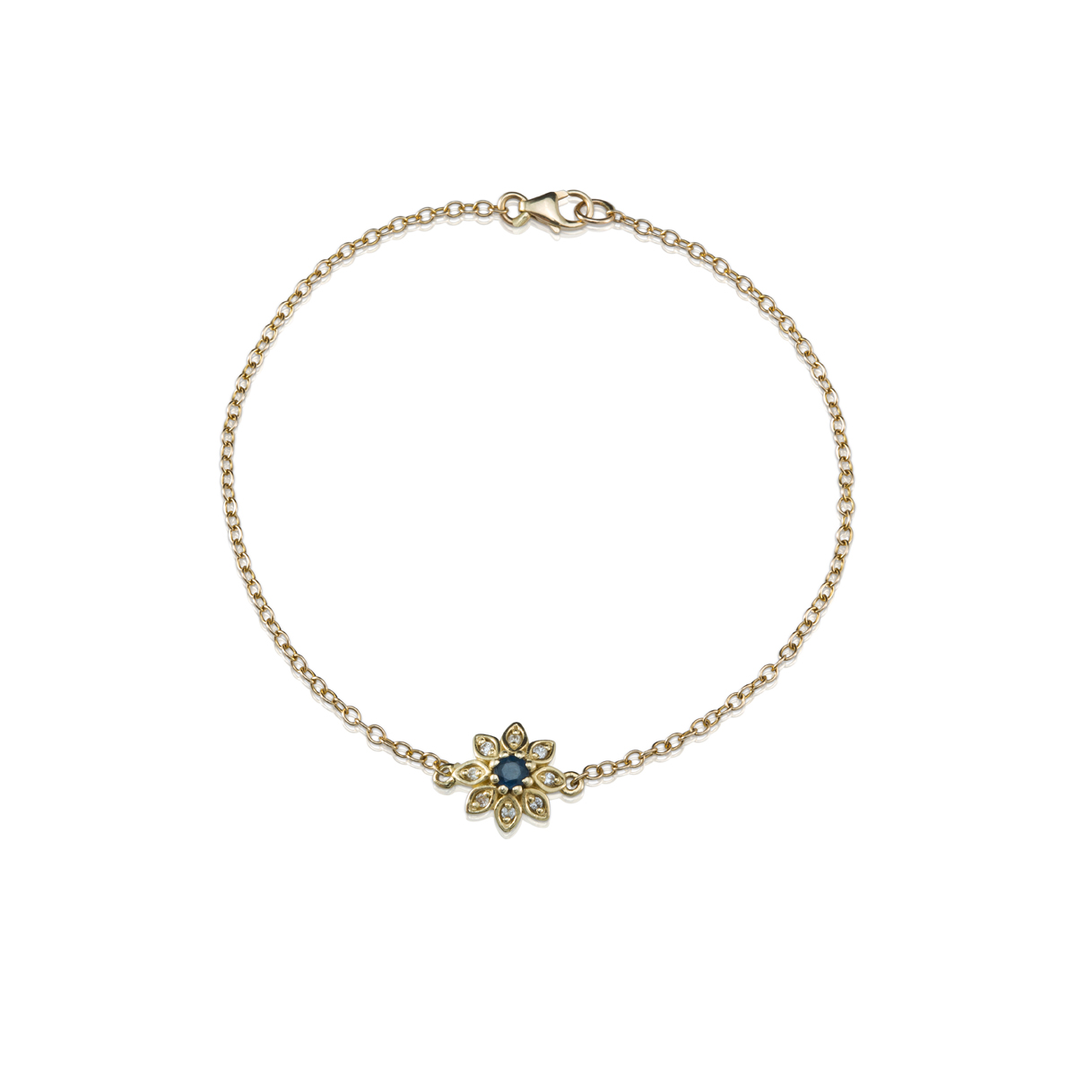 צמיד זהב עם פרח משובץ יהלומים וספיר