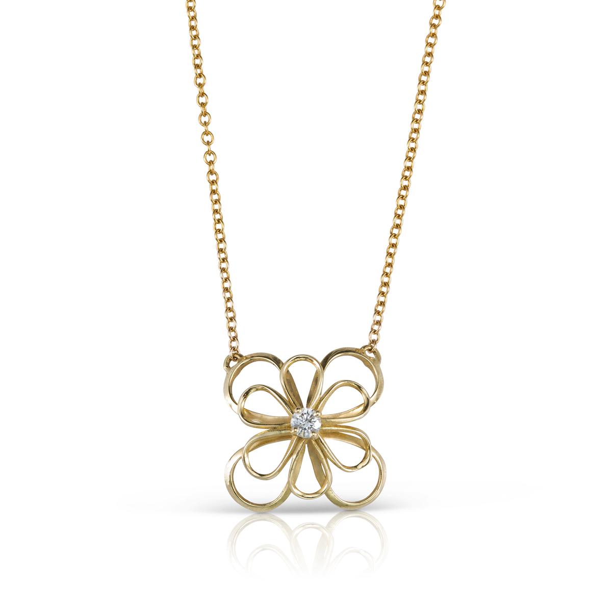 שרשרת זהב עם תליון בצורת פרח תלת ממדי משובץ יהלום 0.10ct