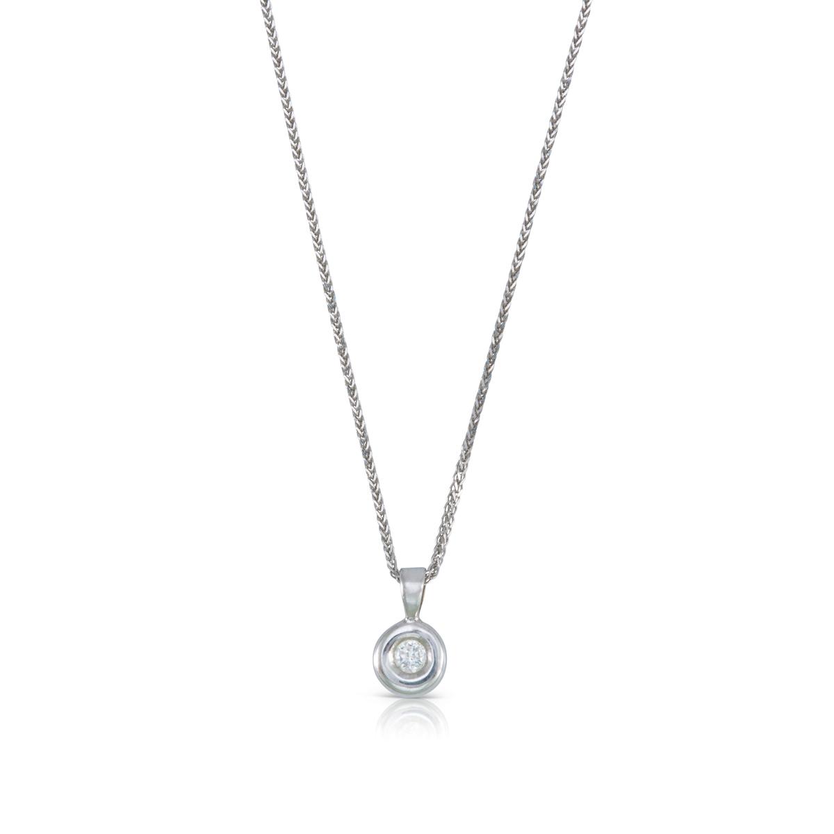 שרשרת יהלום זהב, תליון יהלום משובץ במסגרת מעוגלת אסימטרית, יהלום 0.10ct