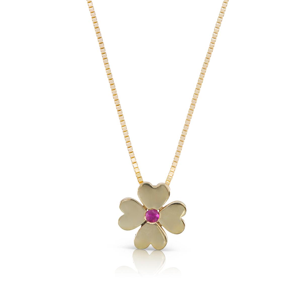 שרשרת זהב ותליון בצורת 4 לבבות משובץ באבן רובי