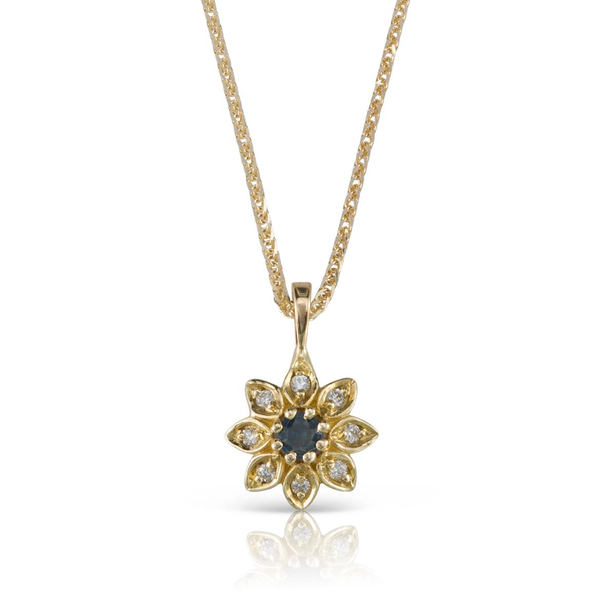 שרשרת זהב עם פרח משובץ יהלומים וספיר