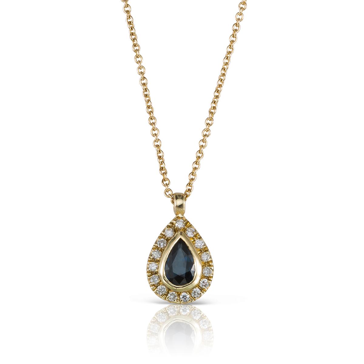 שרשרת זהב קלאסית, תליון משובץ ספיר בצורת טיפה ויהלומים מסביב