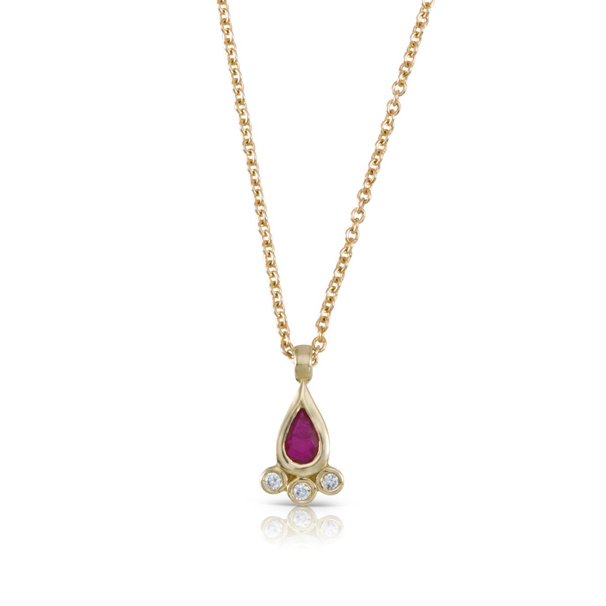 שרשרת זהב משובצת רובי בצורת טיפה ויהלומים