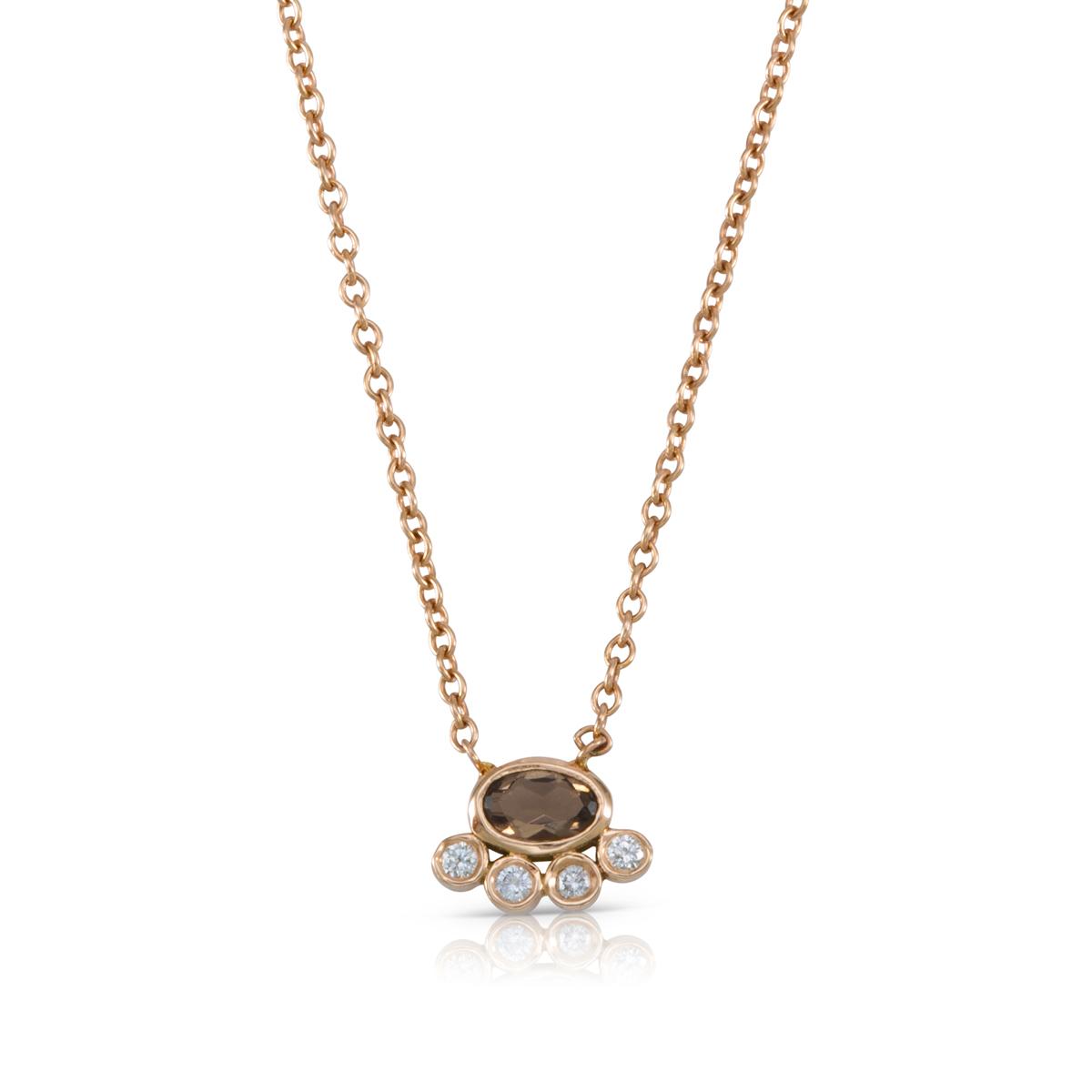 שרשרת זהב משובצת אבן סמוקי קווארץ ויהלומים