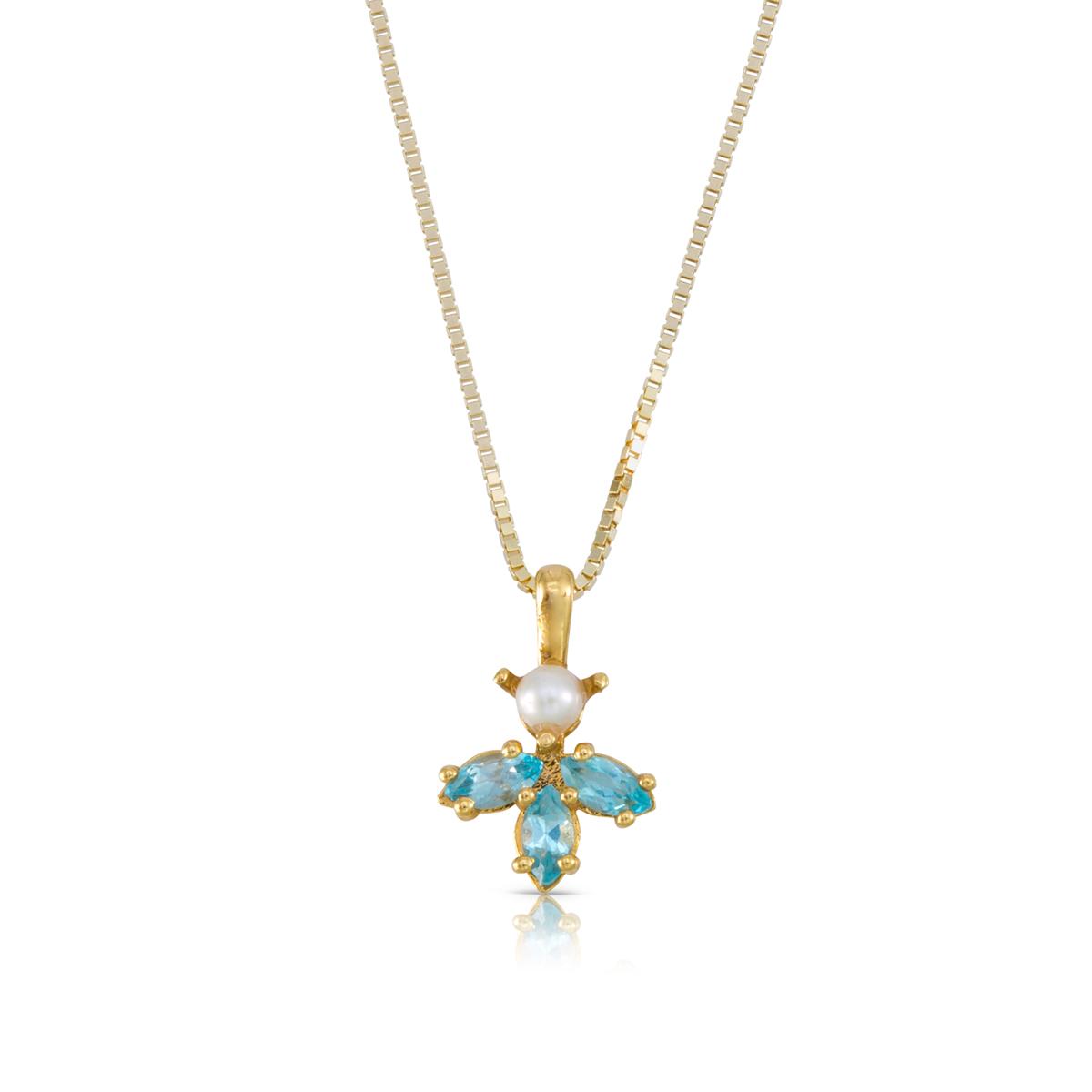 שרשרת זהב משובצת 3 אבני טופז כחולות בחיתוך מרקיזה ופנינה