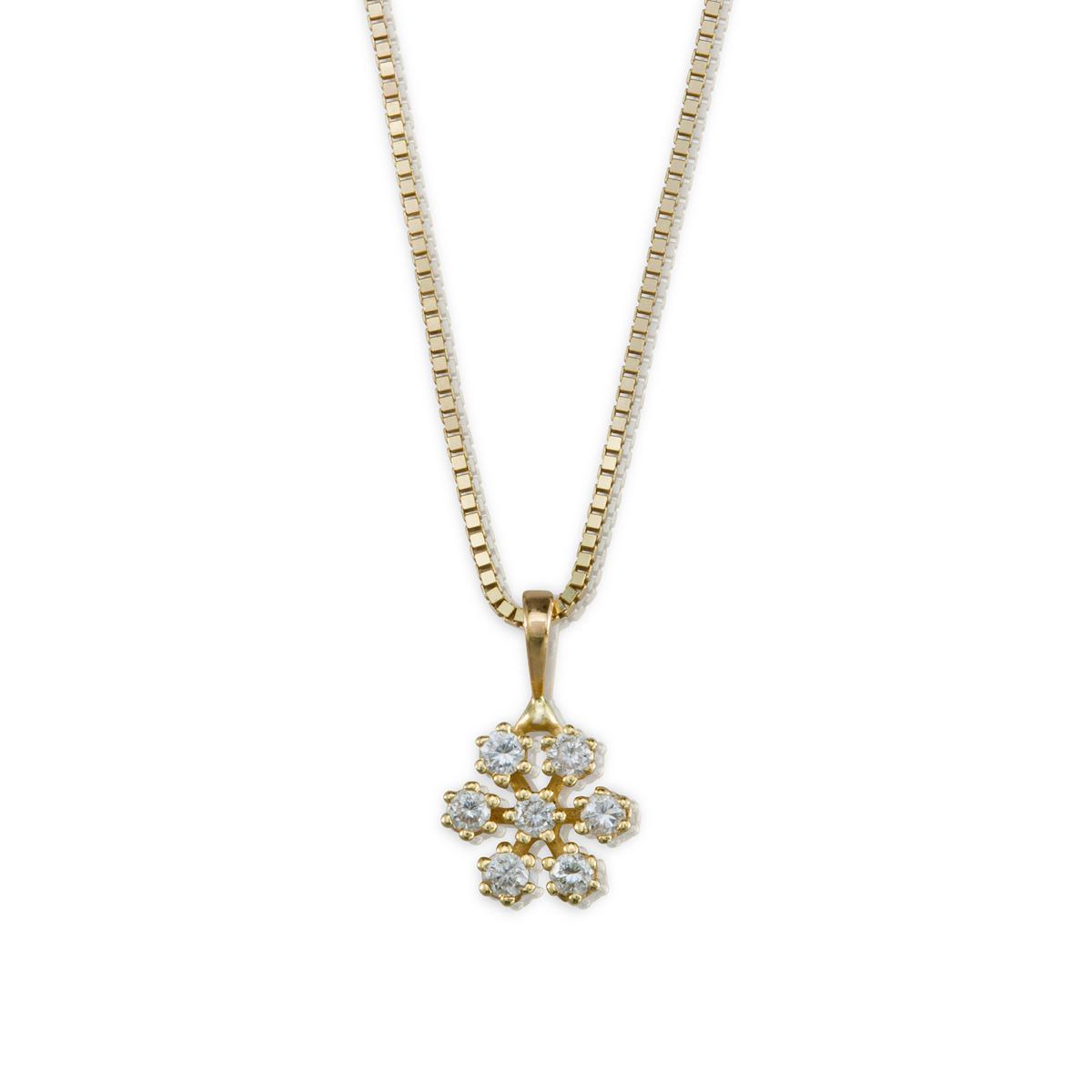 שרשרת זהב ותליון פתית שלג משובץ יהלומים