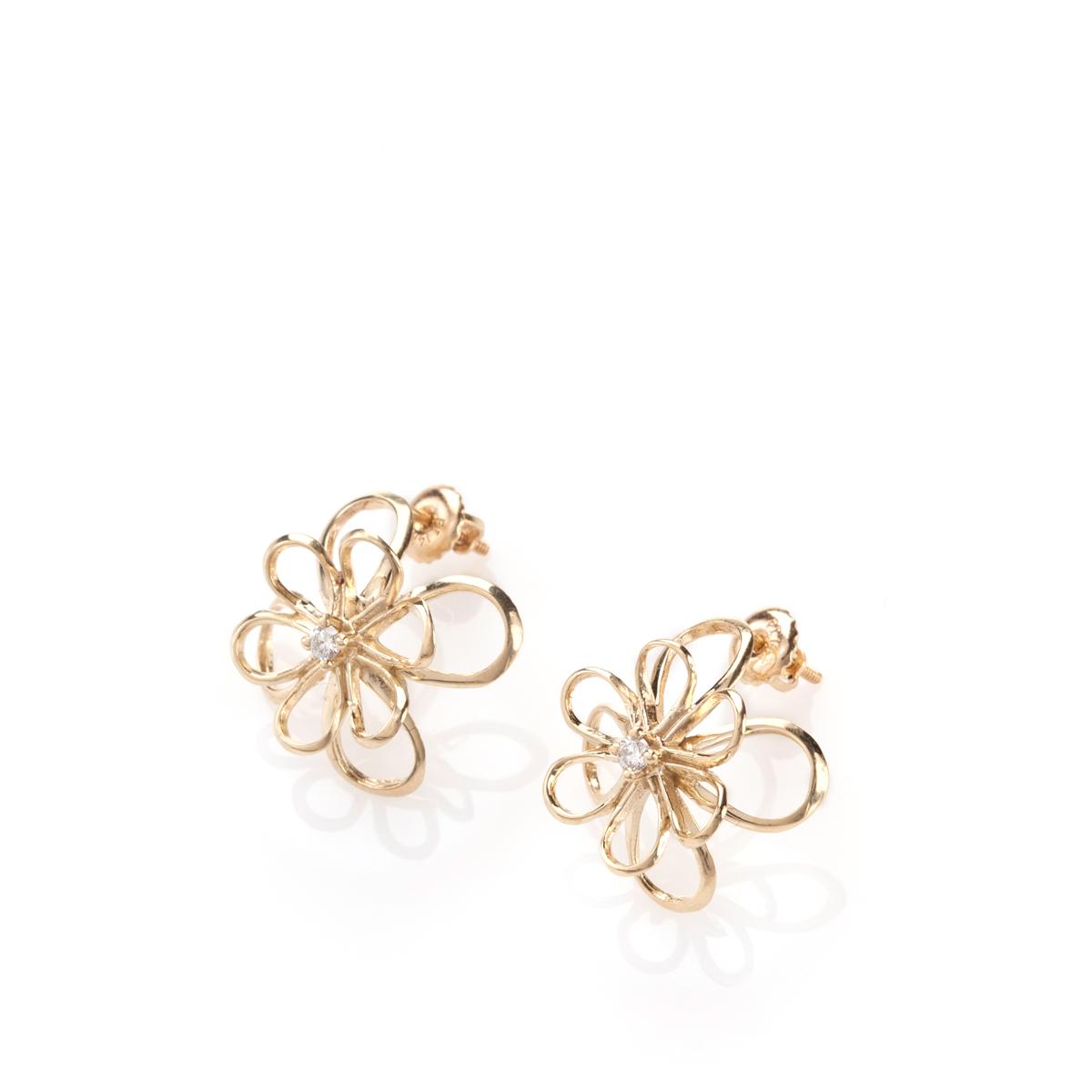 עגילי פרח זהב משובצים יהלומים
