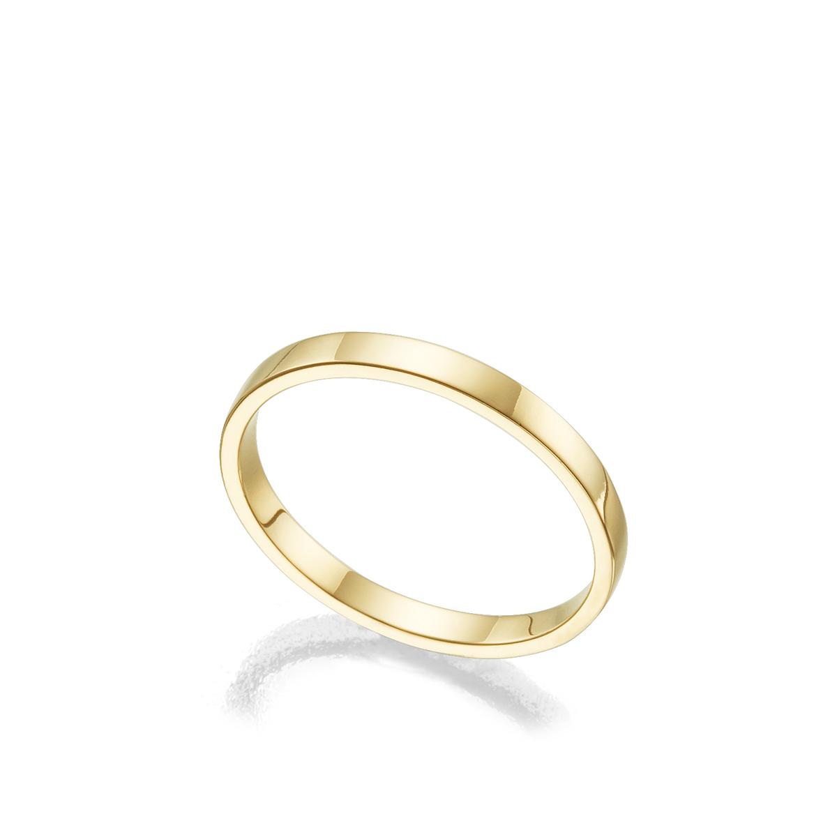 """טבעת נישואין חלקה שטוחה רוחב 2 מ""""מ"""