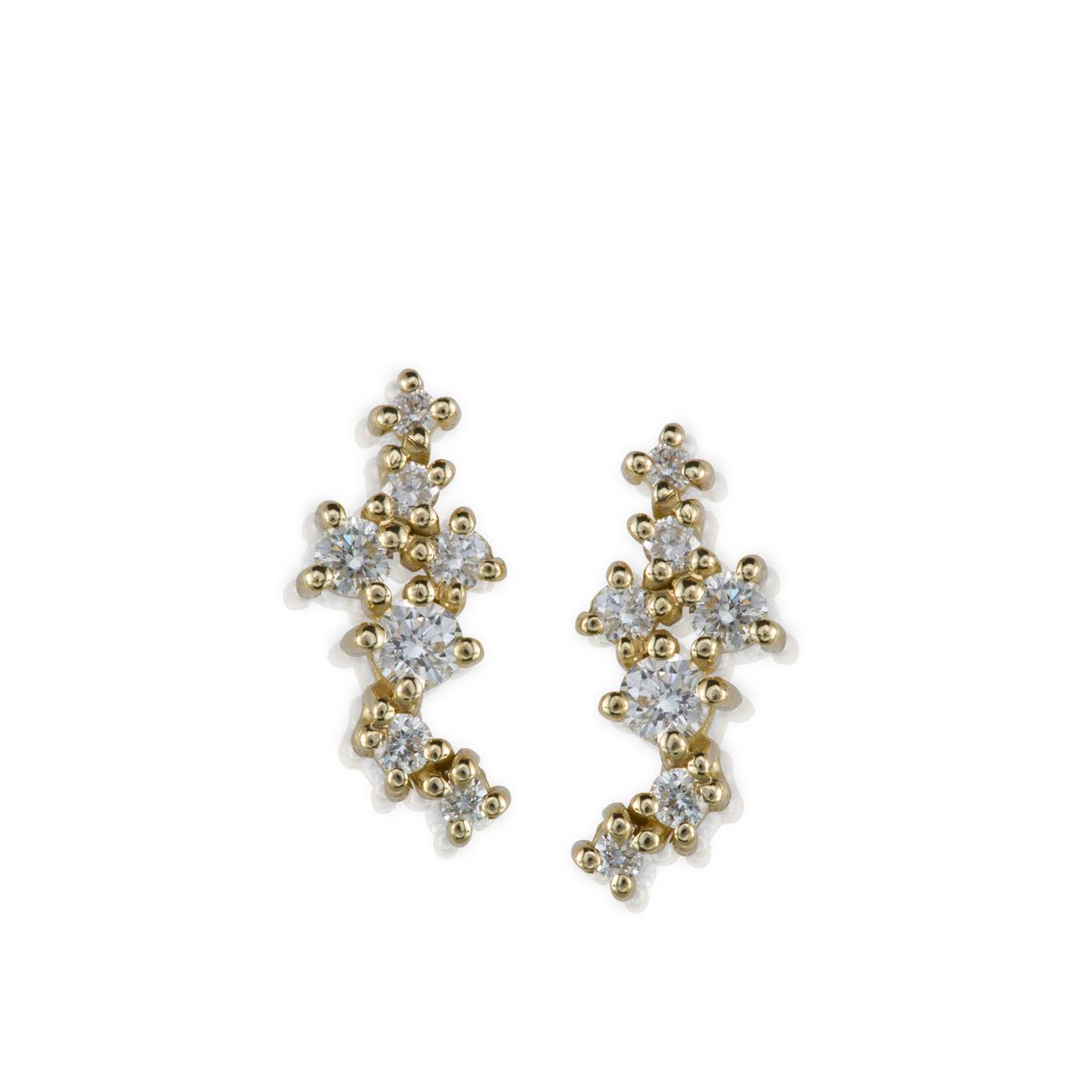 עגילי זהב צמודים משובצים יהלומים בגדלים משתנים