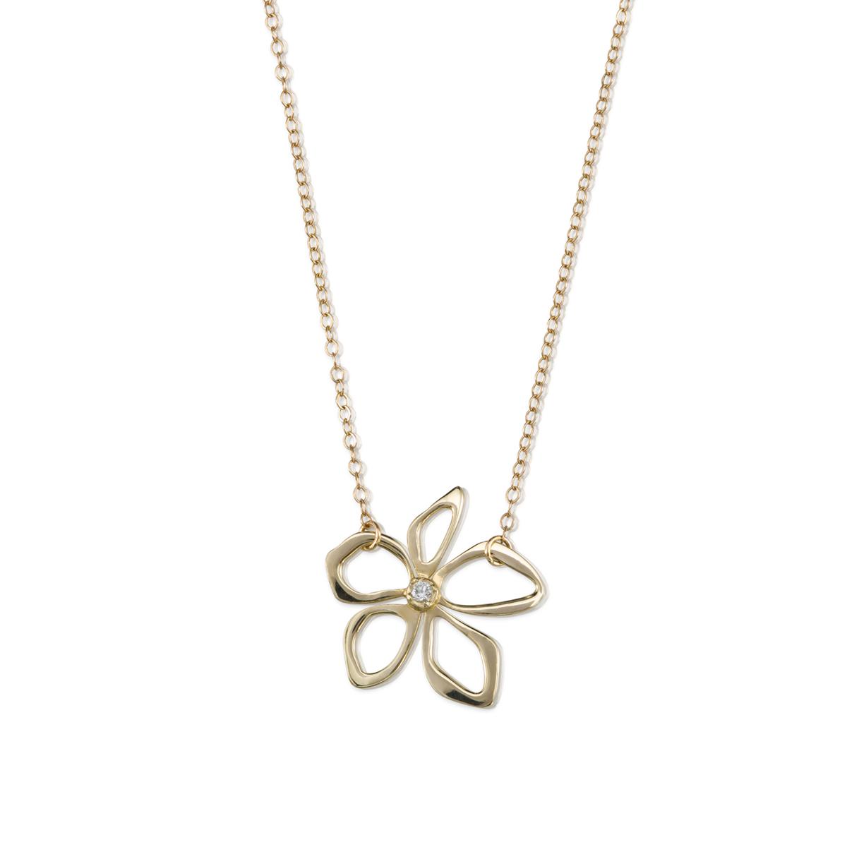 שרשרת פרח זהב משובץ יהלום