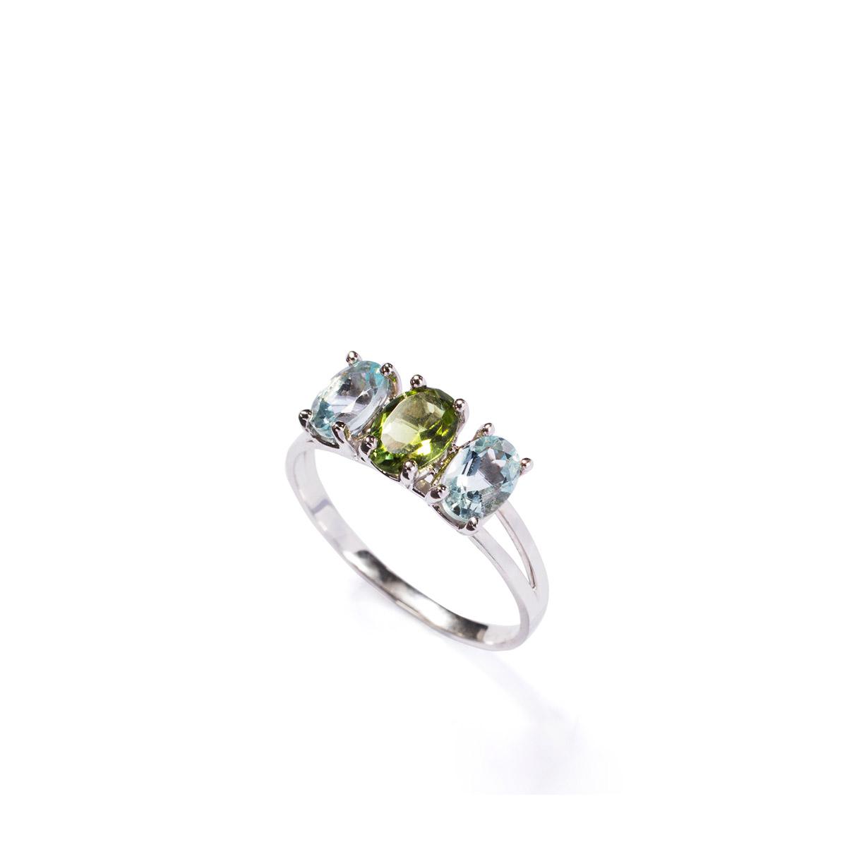 טבעת זהב משובצת אקוואה מרין וטורמלין ירוק