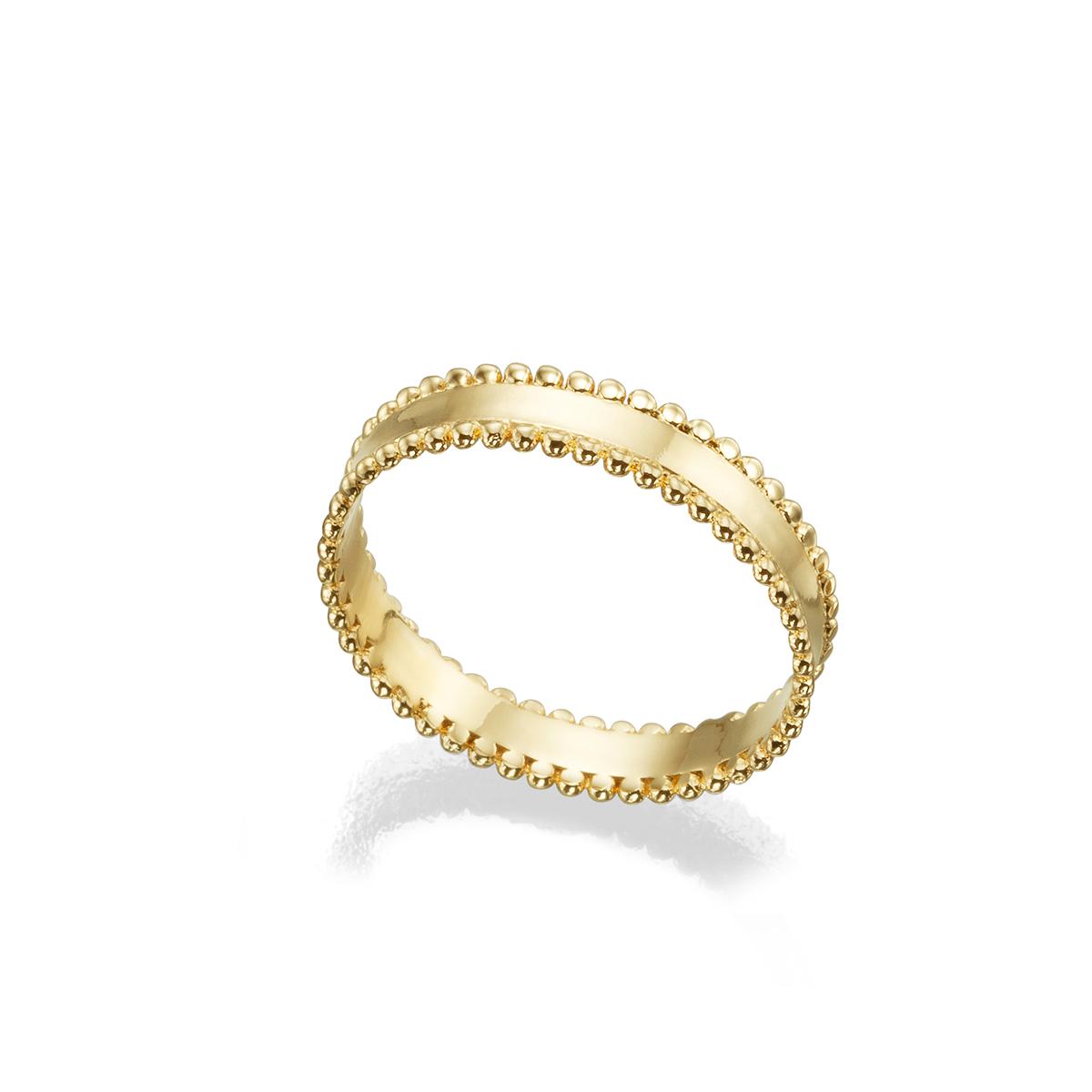 טבעת זהב לאישה מעוטרת שוליים מכדורי זהב
