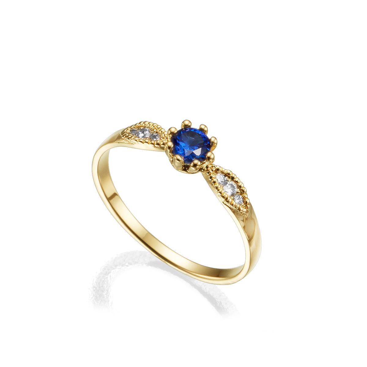 טבעת זהב, ספיר כחול ויהלומים בסגנון וינטאג'