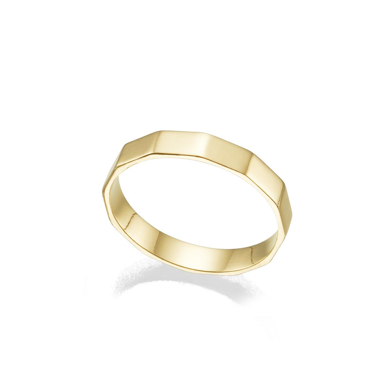 טבעת זהב לגבר בצורת אום