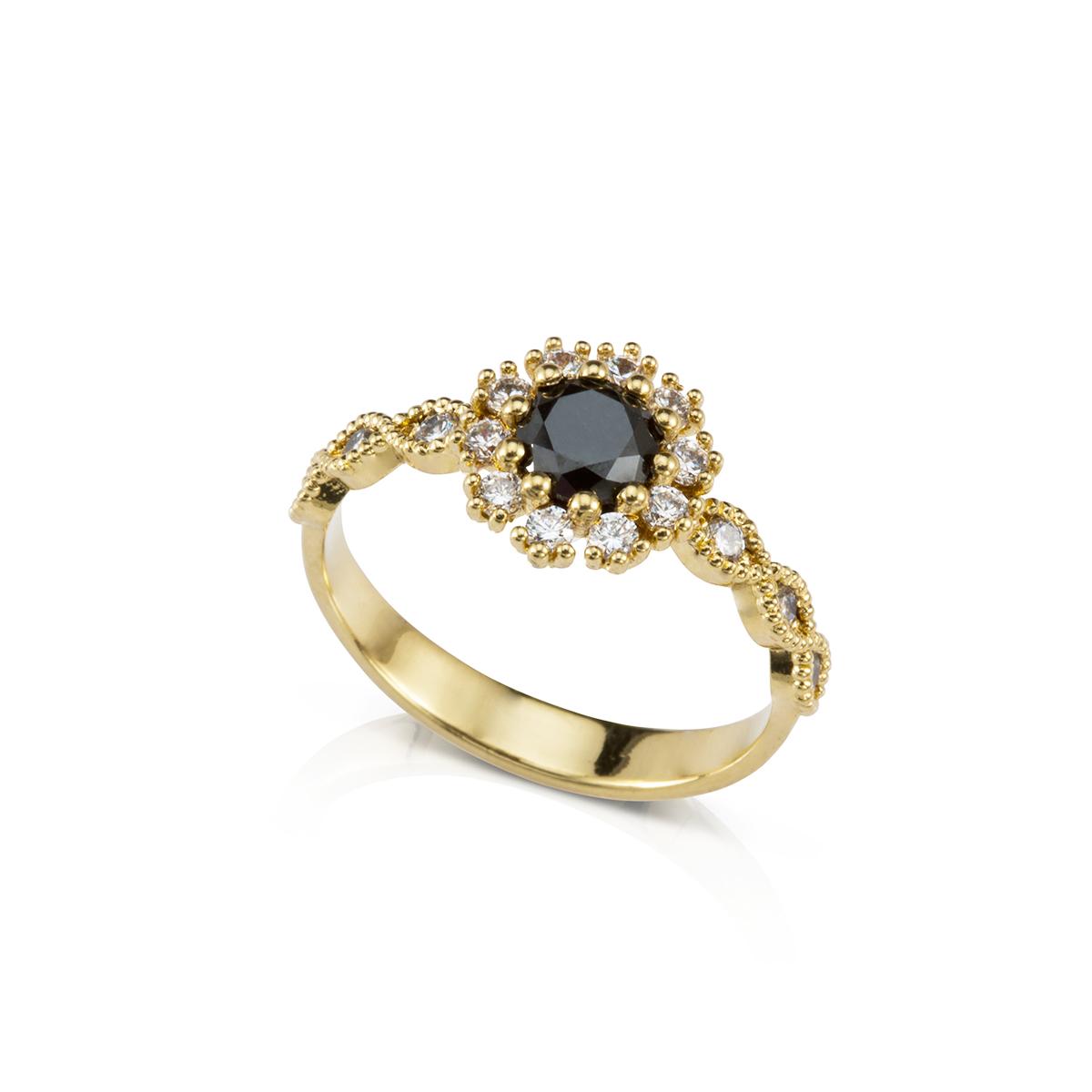 טבעת יהלום שחור מרכזי ויהלומים לבנים