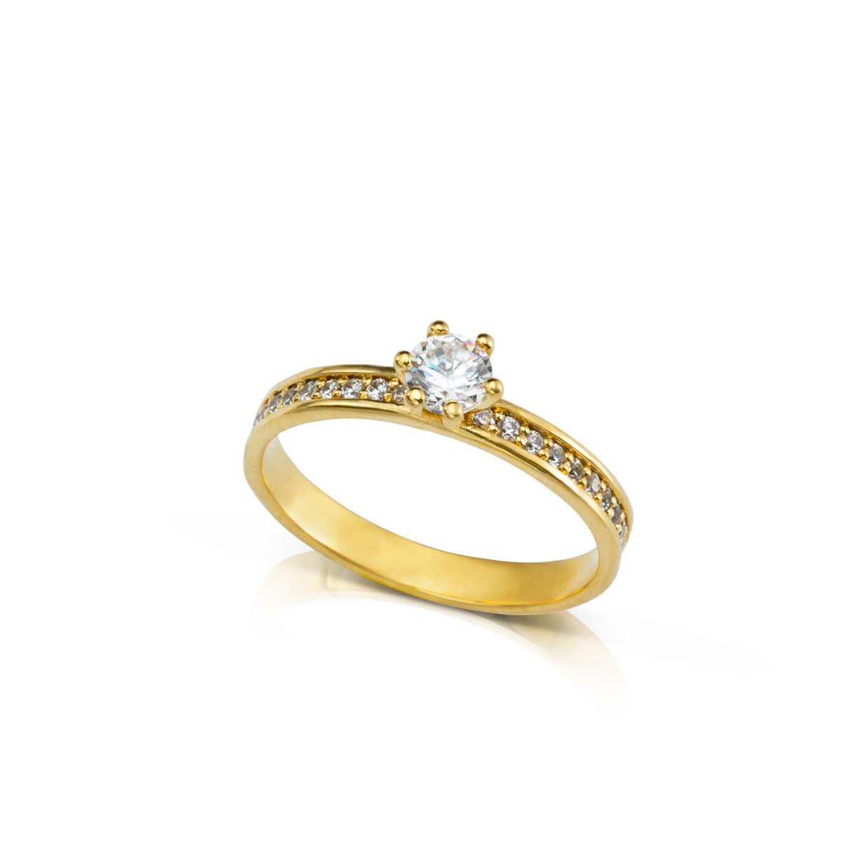 טבעת יהלום מרכזי ויהלומים צדדים