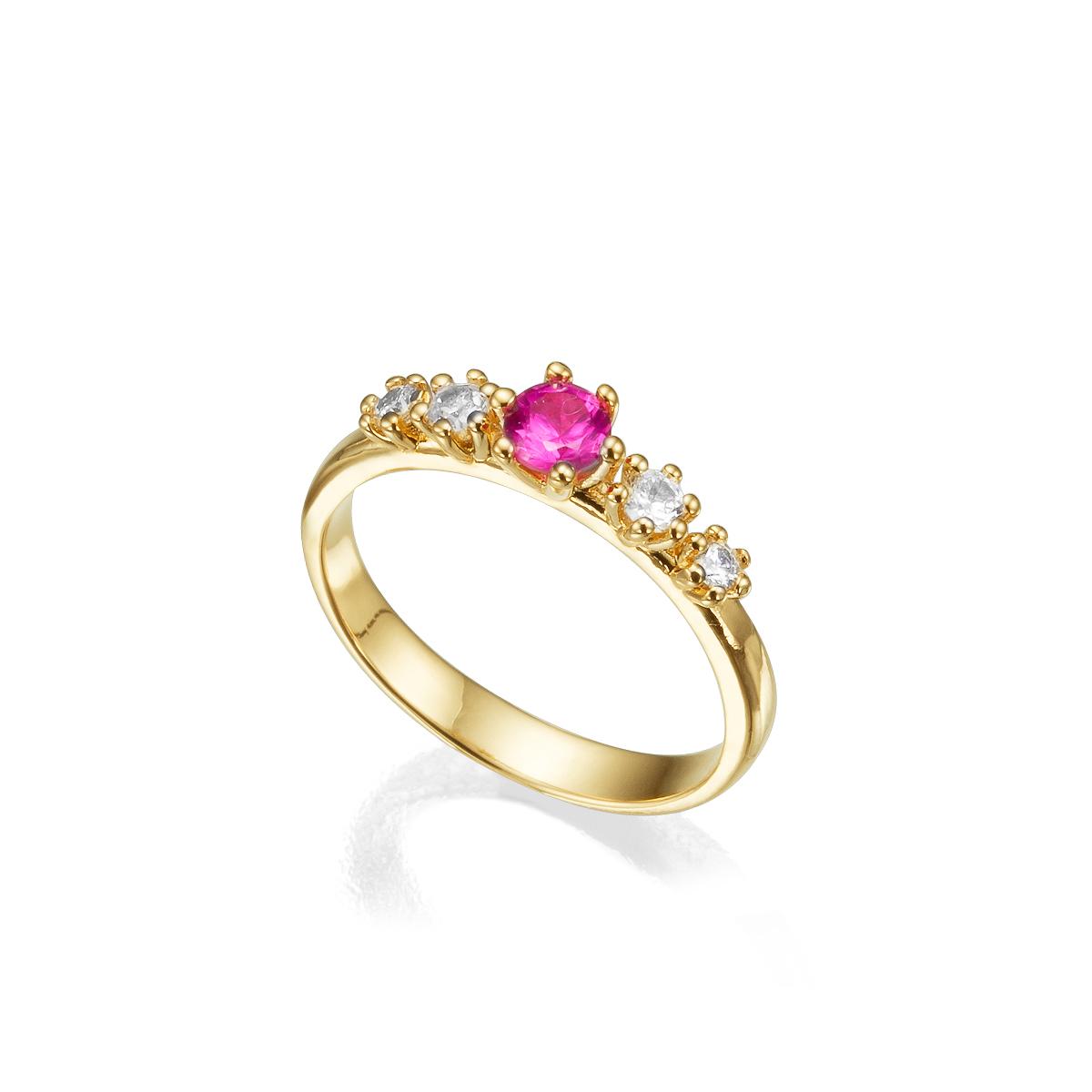טבעת זהב משובצת טורמלין ויהלומים בשיבוץ שיניים