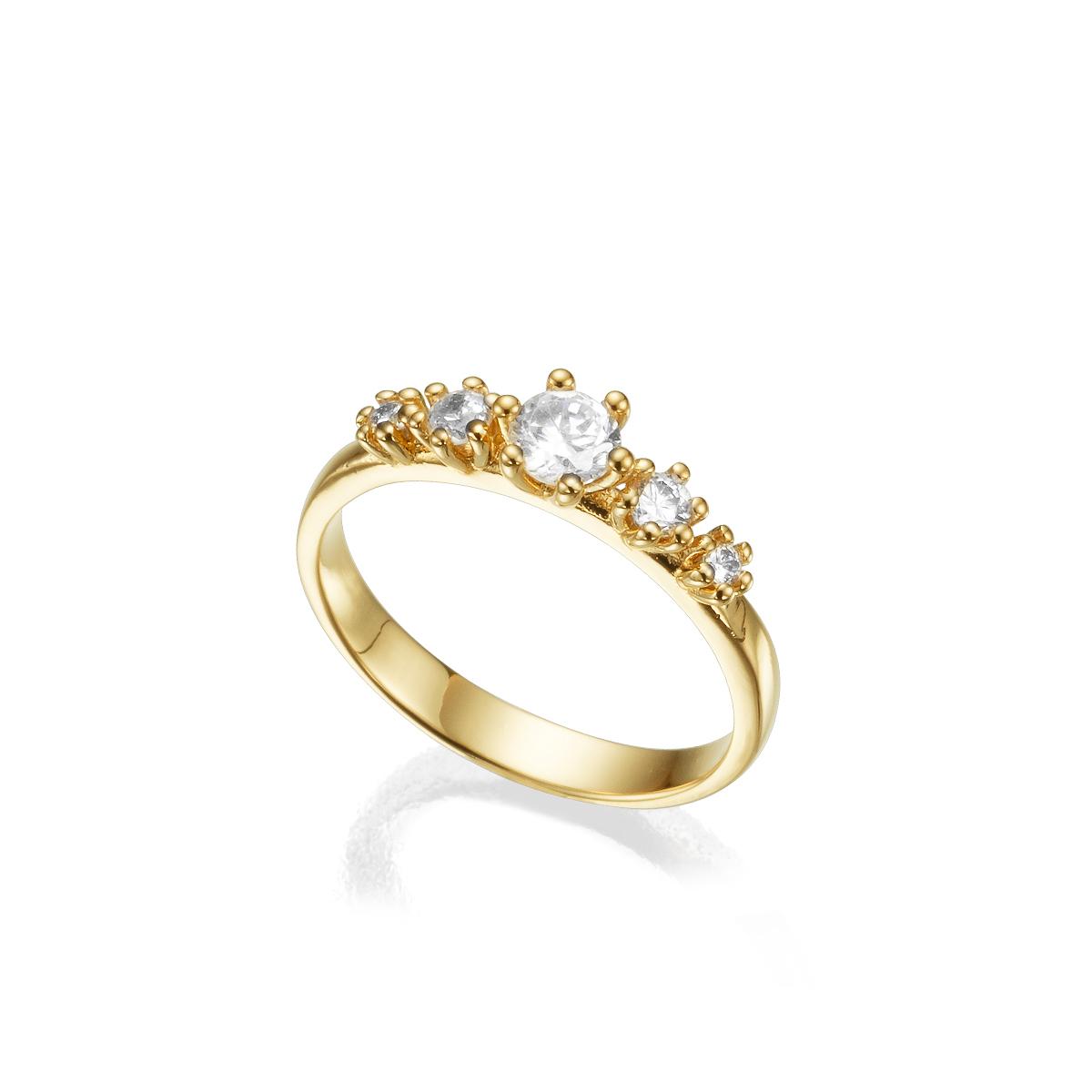 טבעת זהב משובצת 5 יהלומים בשיבוץ שיניים
