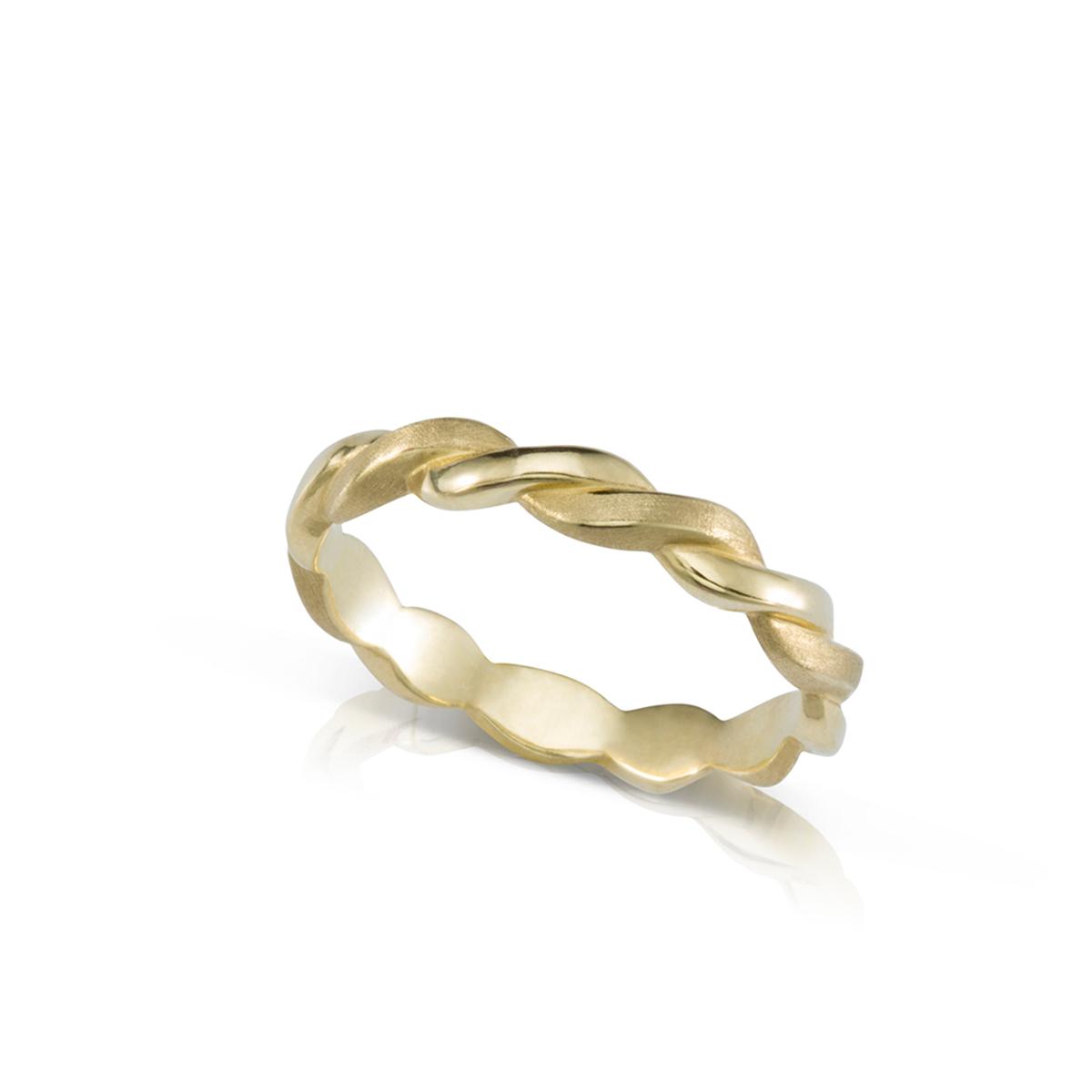 """טבעת זהב צמה / חבל רוחב 3 מ""""מ"""