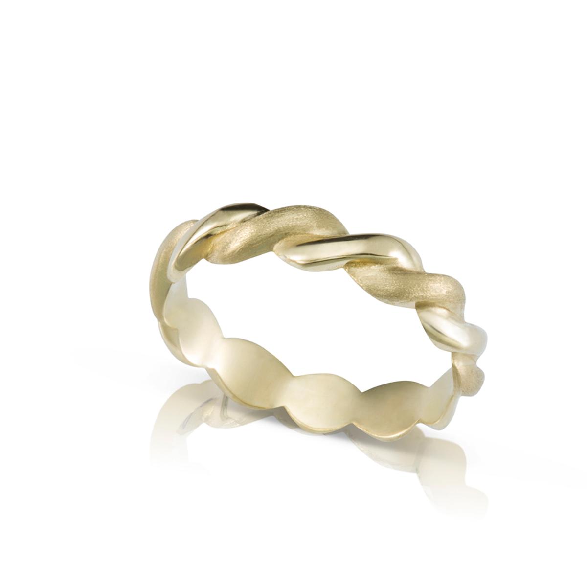 """טבעת זהב צמה / חבל רוחב 4 מ""""מ"""