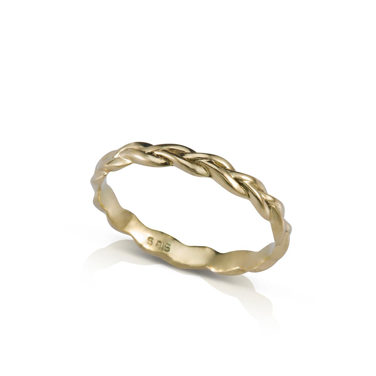 טבעת זהב צמה דקה