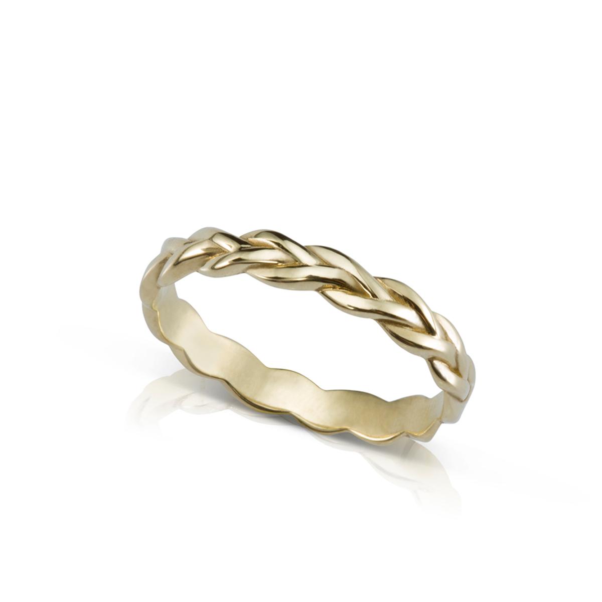 טבעת צמה מזהב 4 ממ