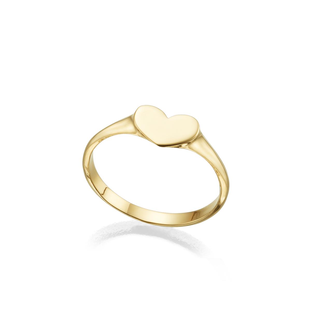 טבעת חותם מזהב בצורת לב