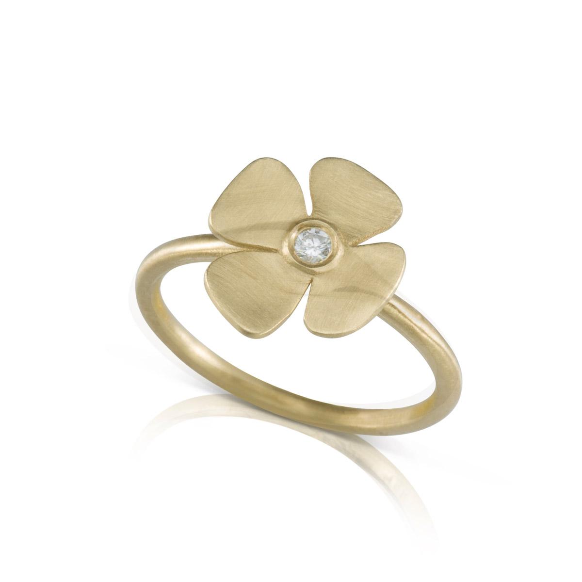 טבעת פרח זהב ויהלום עדינה