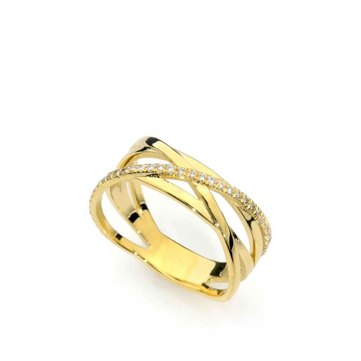טבעת שורות זהב ויהלומים