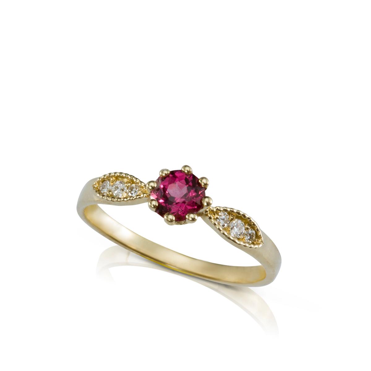 טבעת זהב רודולייט יהלומים בסגנון וינטאג'