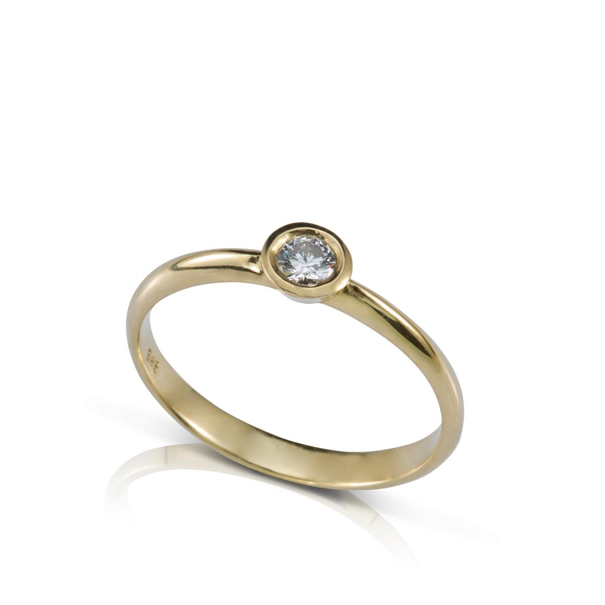 טבעת יהלום סוליטר שיבוץ כוס