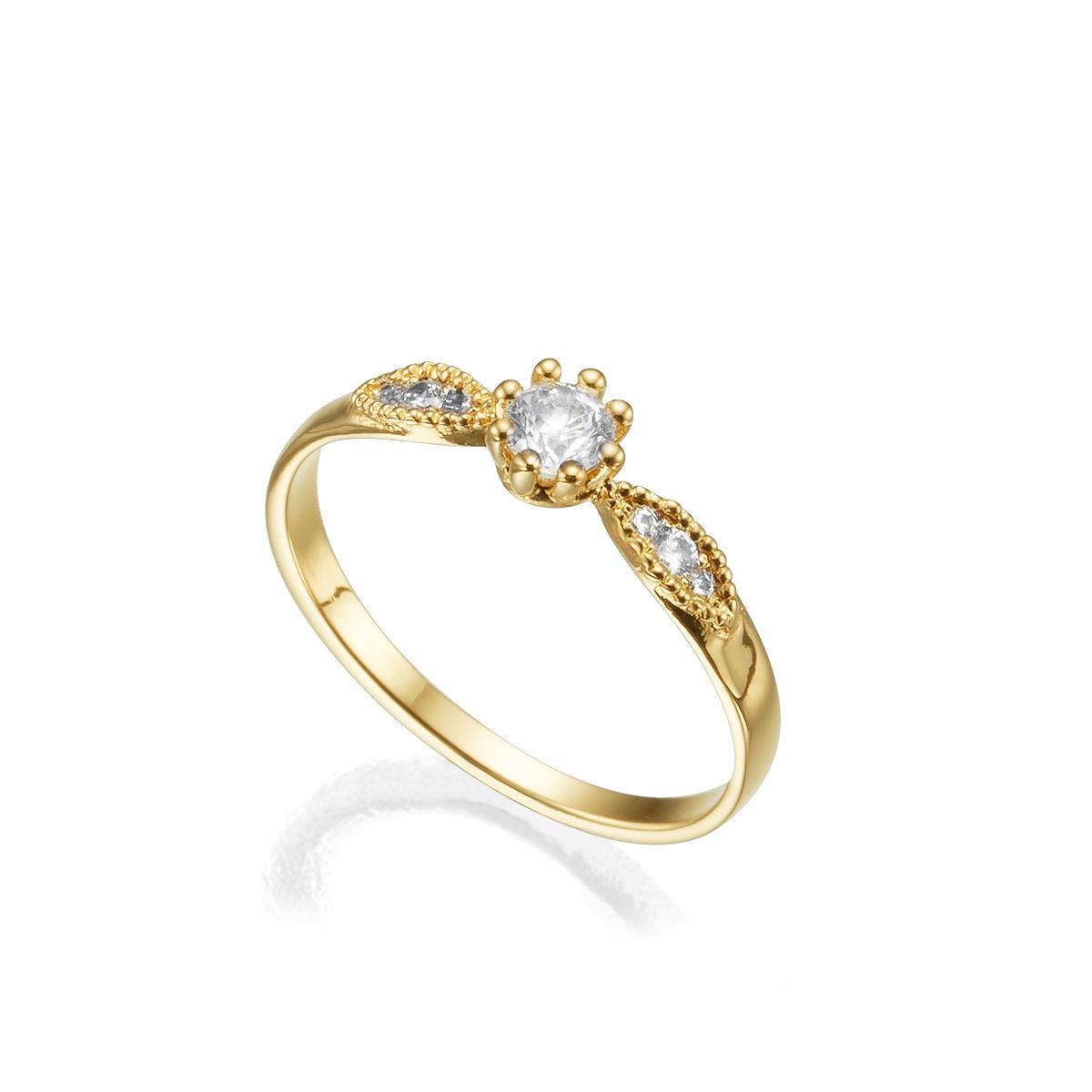 טבעת זהב ויהלומים בסגנון וינטאג'