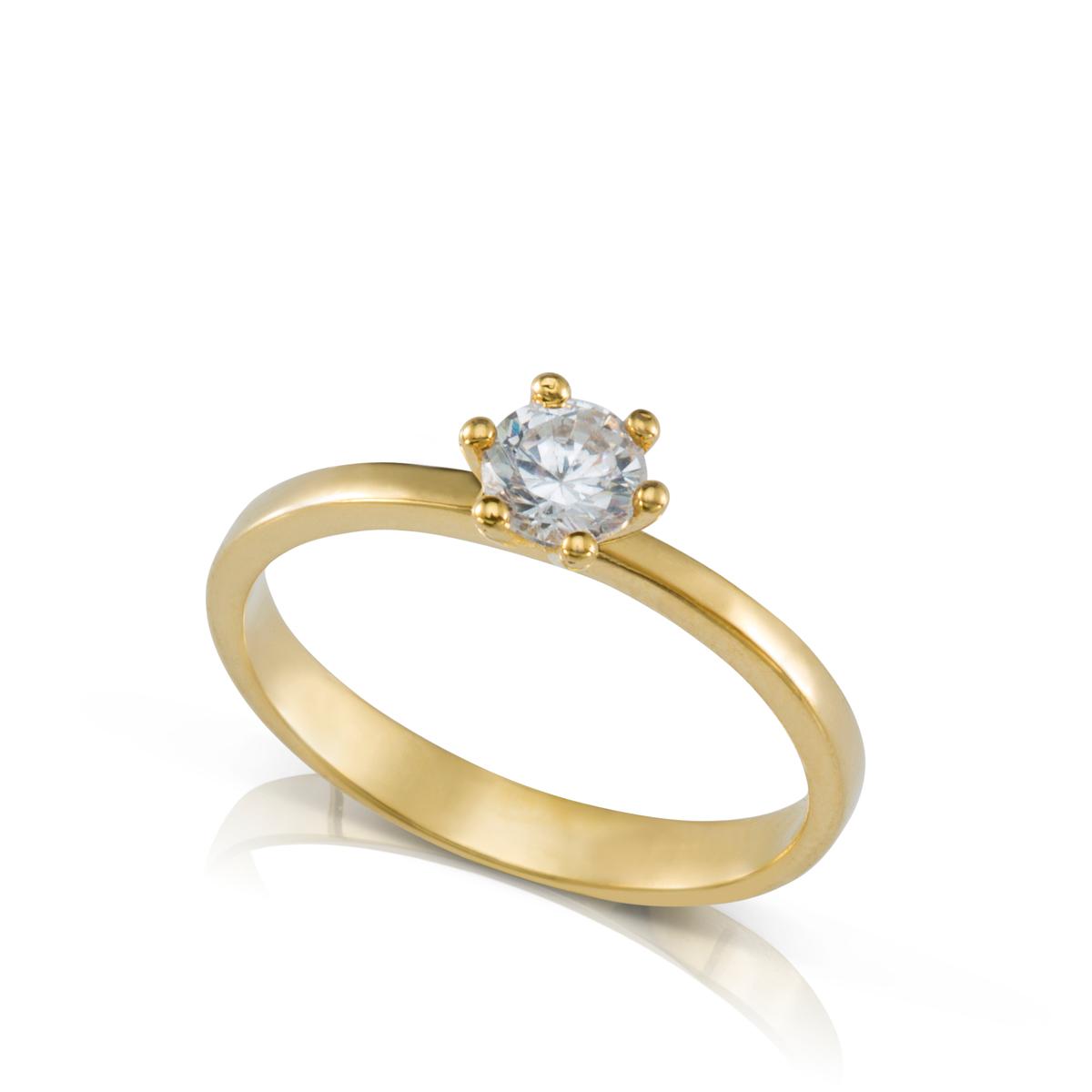טבעת יהלום סוליטר 6 שיניים