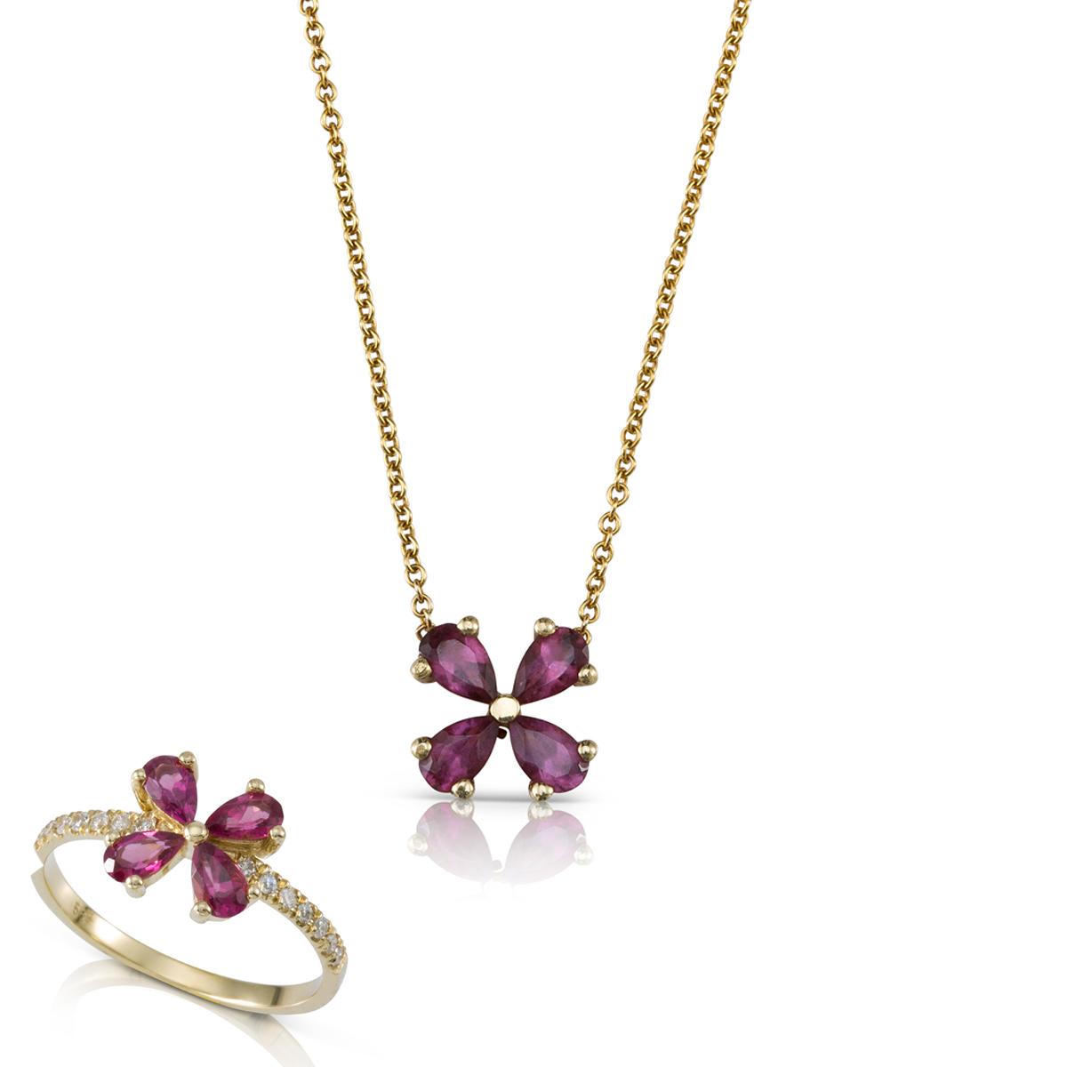 סט תכשיטי זהב ואבני רודולייט בצורת פרח