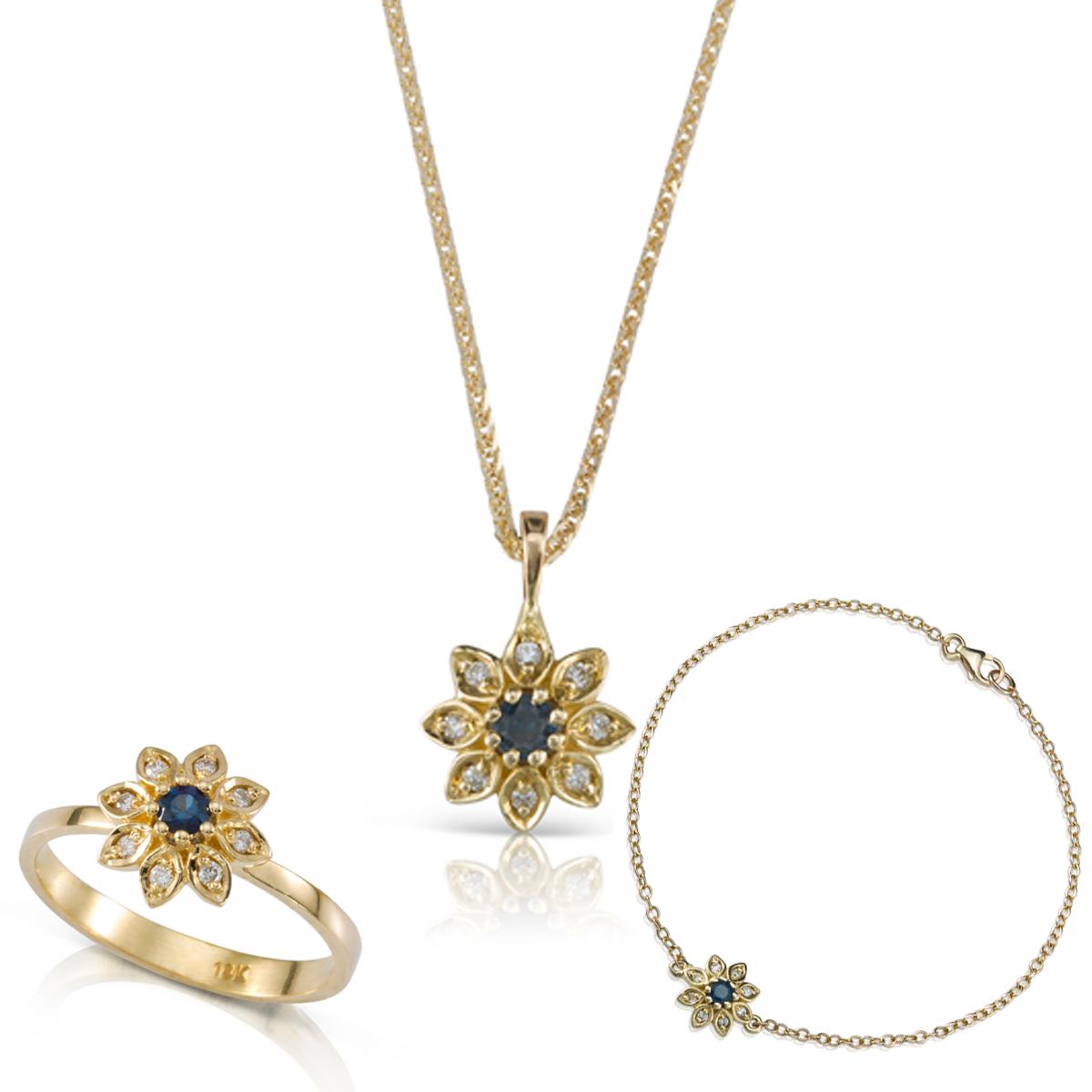 סט תכשיטי זהב בצורת פרח בשיבוץ יהלומים וספירים