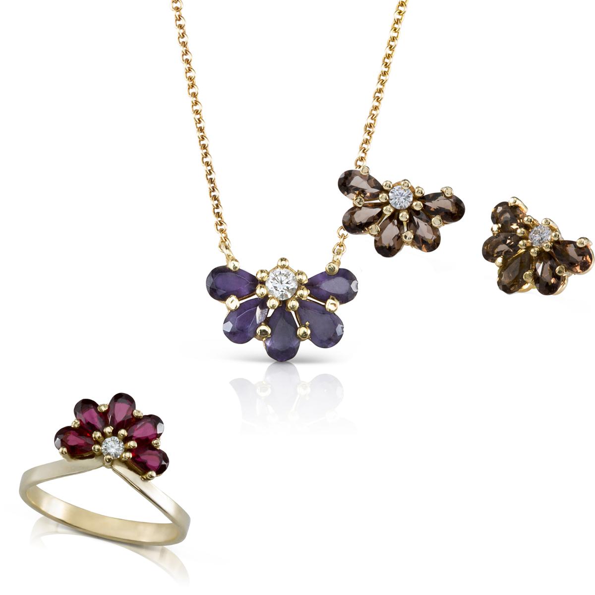 סט תכשיטי זהב מיוחד משולב אבני חן צבעוניות ויהלומים