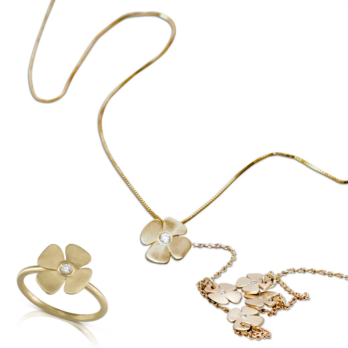 סט תכשיטים בעיצוב פרח עדין לאישה